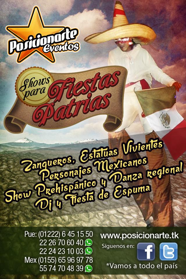 Show para fiestas patrias / 15 de septiembre: Zanqueros, Estatuas vivientes, Personajes mexicanos