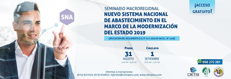 SEMINARIO GRATUITO MACROREGIONAL NUEVO SISTEMA NACIONAL DE ABASTECIMIENTO EN EL MARCO DE LA MODERNIZACIÓN