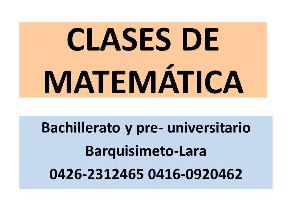 Clases de Matemática y Pre-Universitario