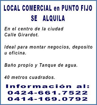 ALQUILO LOCAL COMERCIAL EN PUNTO FIJO - FALCON