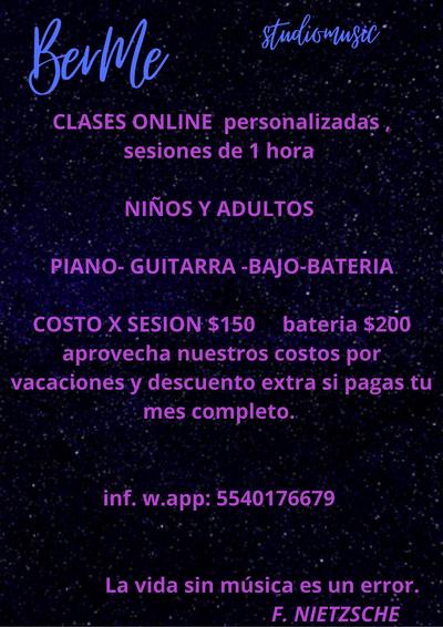 CLASES ONLINE DE PIANO,GUITARRA , BAJO Y BATERIA .